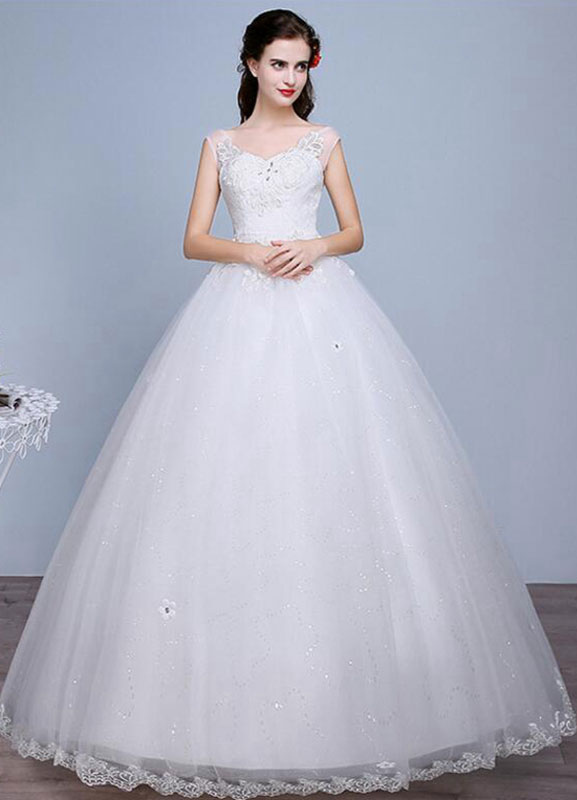 Buy Ivory Wedding Dress Lace Sleeveless V Neck Rhinestones Beaded A-Line Floor Length Bridal Gown for $67.19 in Milanoo store