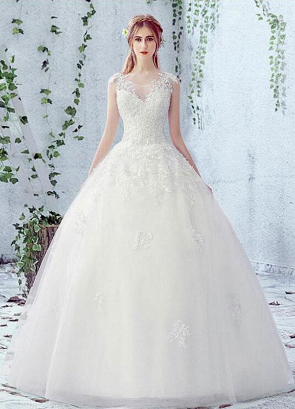 online retailer c7eab 9c867 Pizzo da sposa abito girocollo senza maniche in raso netto pizzo Up Abito  da sposa con perline
