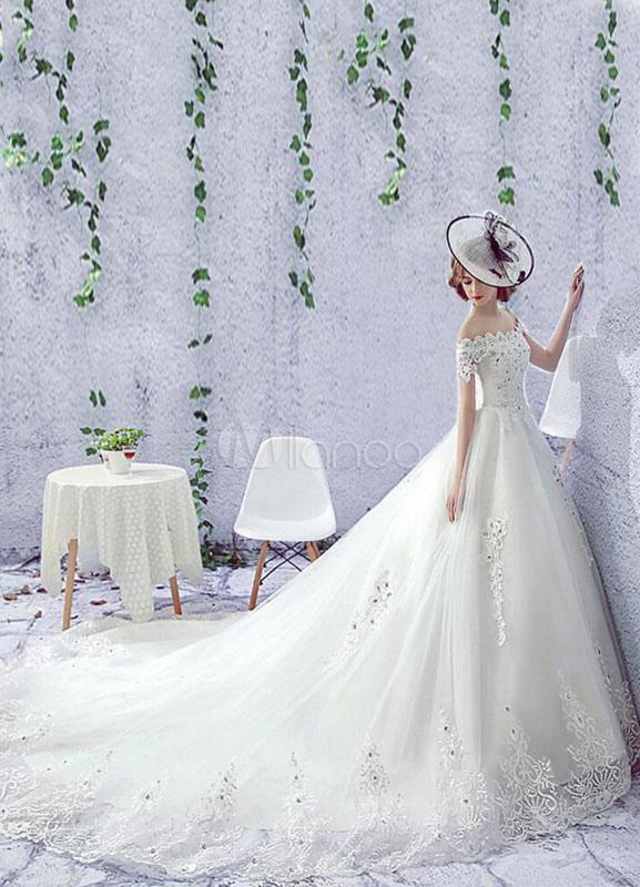 Rhinestones Wedding Dress Off The Shoulder Lace Short Sleeve Lace Up Chapel Train Bridal Dress