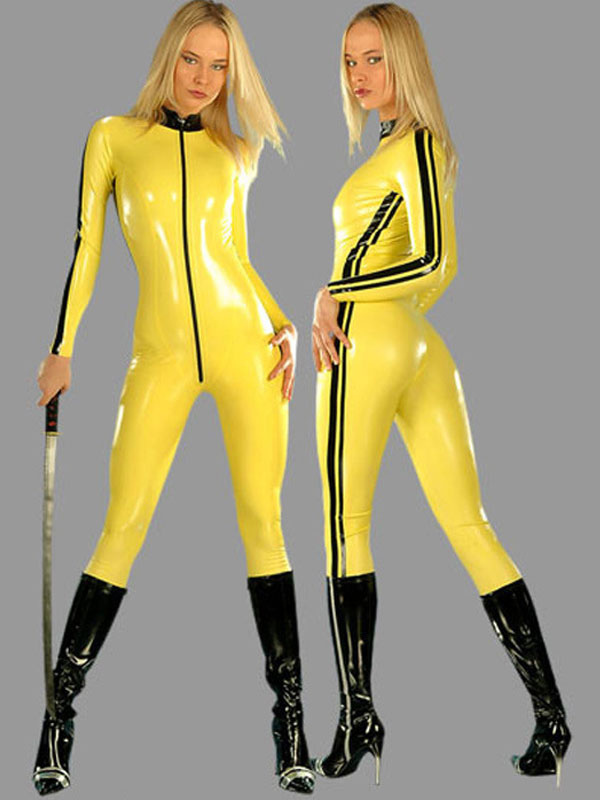Yellow Ninja Catsuits Halloween Sexy PVC Jumpsuit For Women Halloween