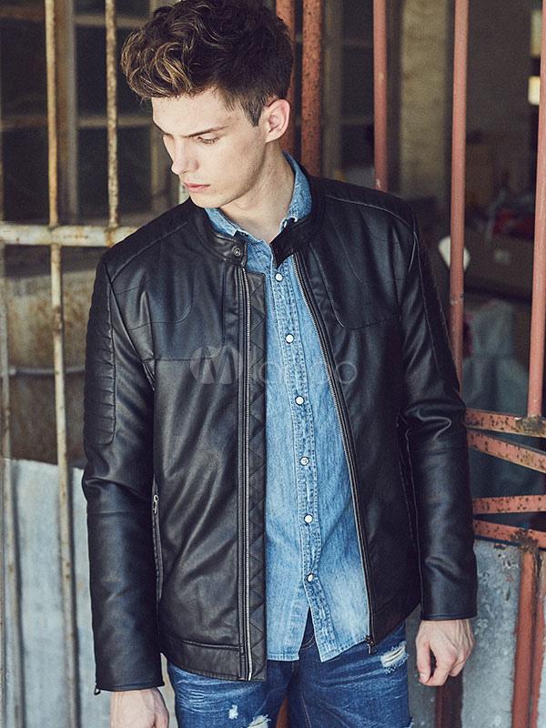 Black Men's Jacket PU Leather Zip Up Casual Short Jacket