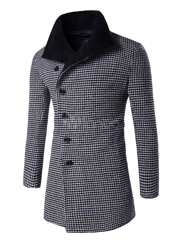 Men's Winter Coat Oblique Button Causal Houndstooth Coat