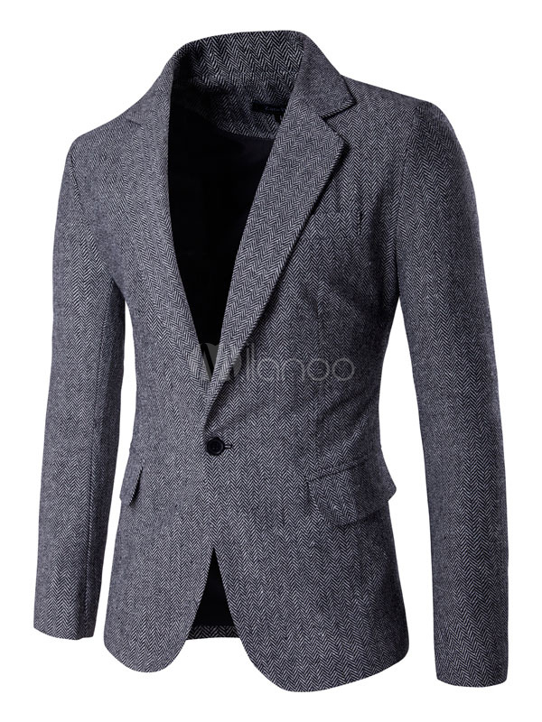Buy Tweed Suit Jacket Single Button Casual Blazer For Men Winter Casual Blazer for $45.89 in Milanoo store