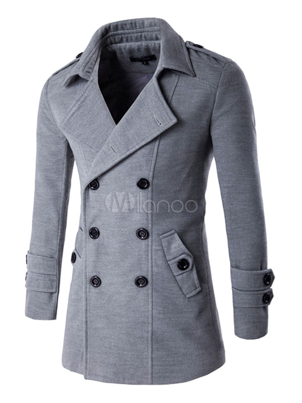 Men Peacoat Gray Double Breasted Cotton Overcoat Turndown Collar Overcoat Men Casual
