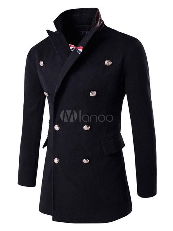 Buy Men's Blue Peacoat Long Sleeve Turndown Collar Front Button Cotton Winter Coat for $45.59 in Milanoo store