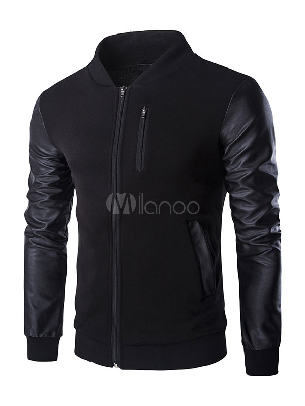 Buy Black Bomber Jacket Long Sleeve Strand Collar Cotton Winter Jacket for $39.89 in Milanoo store