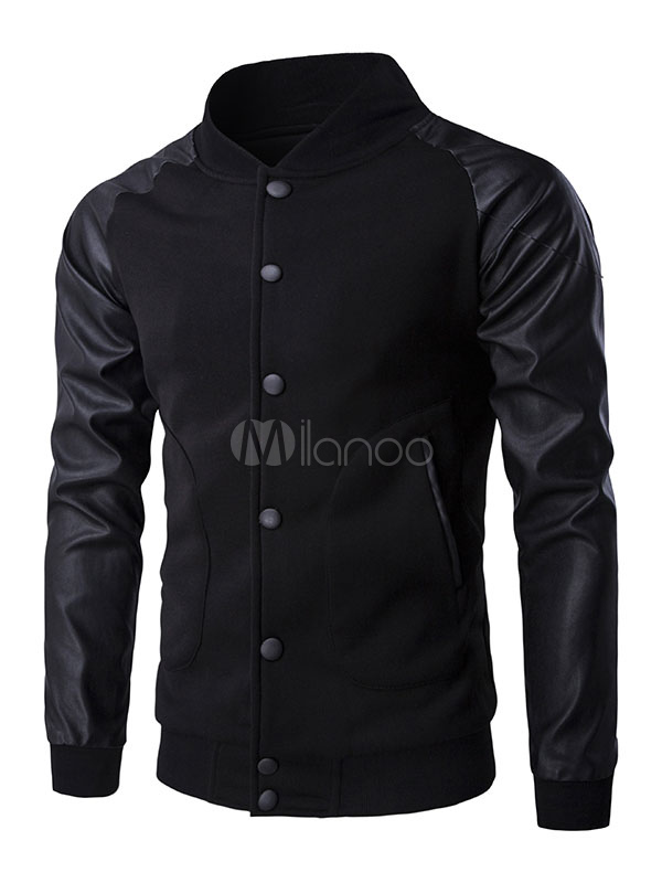 Black Baseball Jacket PU Leather Sleeve Men's Splice Button Large Pockets Cotton Jacket