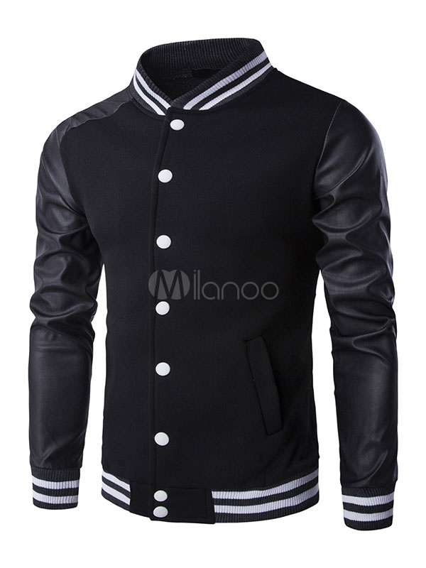 Men's Baseball Jacket Black Leather Sleeve Slim Fit Varsity Jacket ...