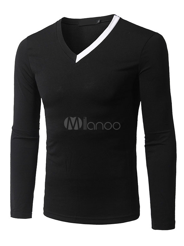 Buy Men's Black T-Shirt Long Sleeve V Neck Slim Fit Cotton T-Shirt for $23.74 in Milanoo store
