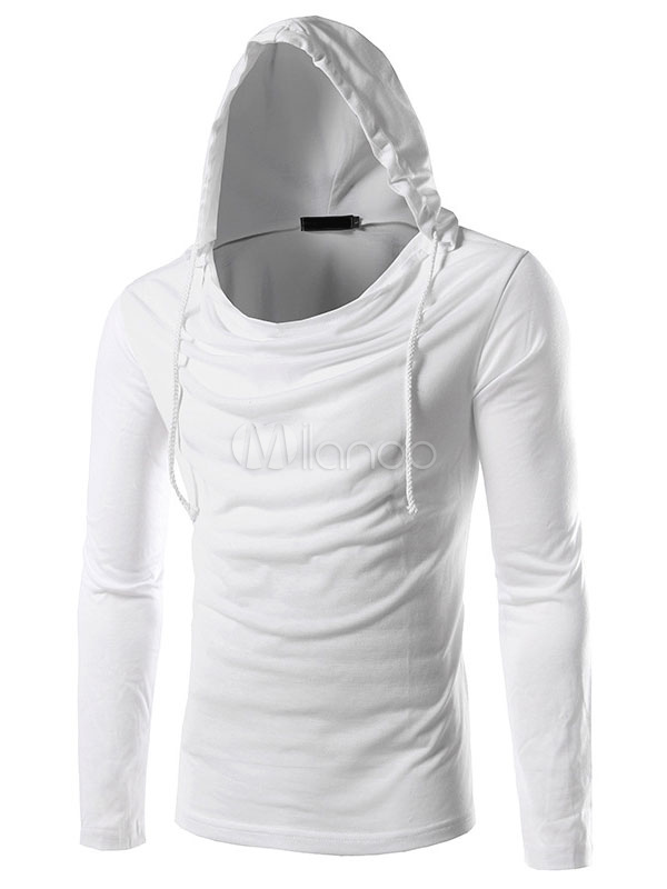 Men's White Hoodie Long Sleeve Cowl Neckline Hooded T-shirt