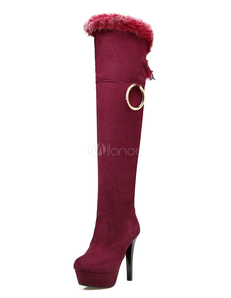Buy High Heel Boots Knee High Women's Suede Platform Fur Zipper Round Toe High Boots for $47.49 in Milanoo store