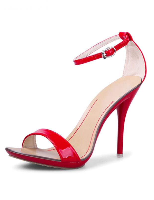 Buy High Heel Sandals Women's Red Open Toe Dress Sandals With Ankle Strap for $29.74 in Milanoo store