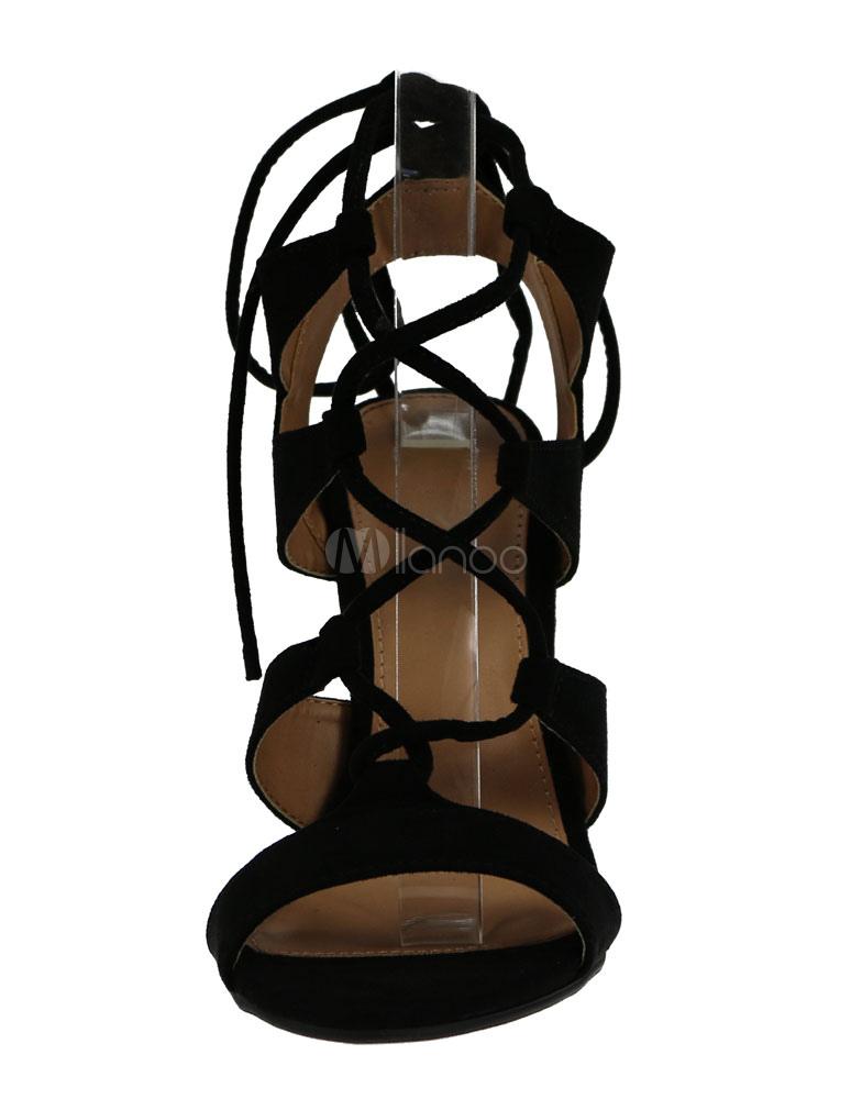 en venta d6877 641a9 Negro Sandalias Romanas 2019 Gladiador Alto Tacón Gamuza Mujer con Cordón  Sandalia