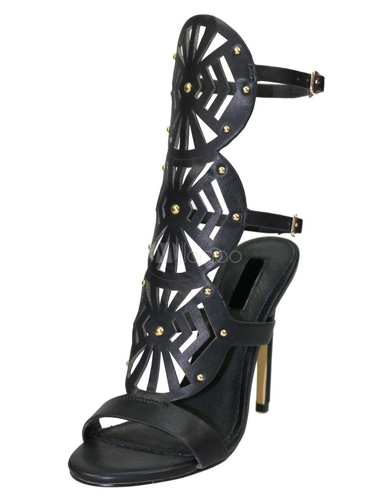Black Sandal Boots High Heel Women's Cut Out Empty Back Strap Open Toe Boots
