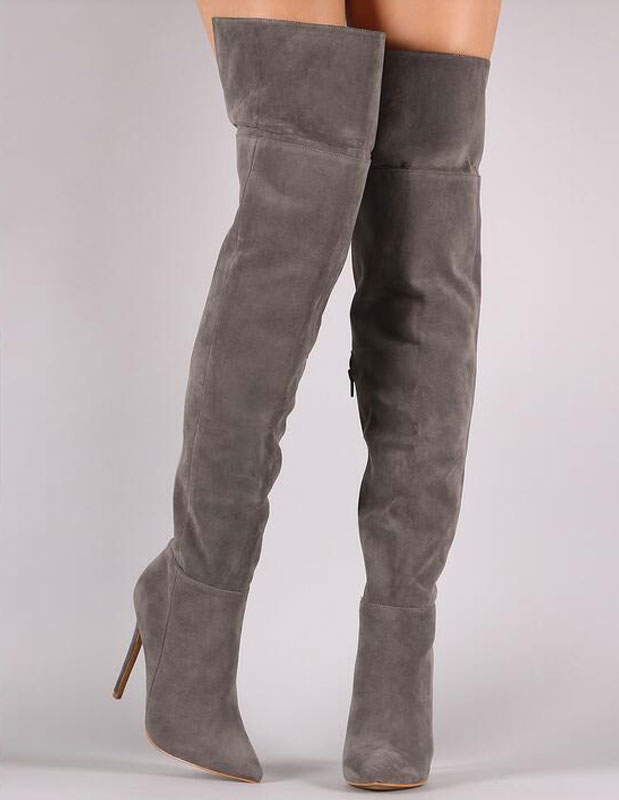 a4bc3b4eb9e Sexy High Boots Over Knee High Heel Boots Women s Pointed Toe Winter Boots  With Zipper- ...