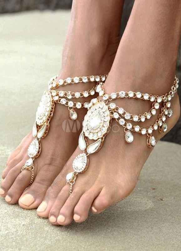 Bohemian Wedding Shoes Silver Rhinestone Layered Anklets