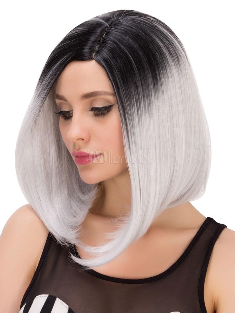 argent gris droite raie sur le c t halloween cheveux perruques f minines les perruques. Black Bedroom Furniture Sets. Home Design Ideas