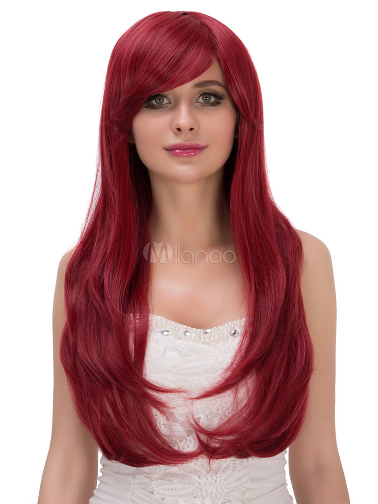 Carnival Long Wigs Burgundy Women's Side Swept Curls At Ends Synthetic Wigs Cheap clothes, free shipping worldwide