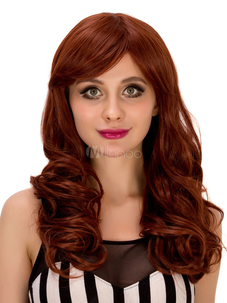 Women s Long Wigs Carnival Red Curly Crimped Curls With Side Swept Bangs  For Women- ... 3e67405751