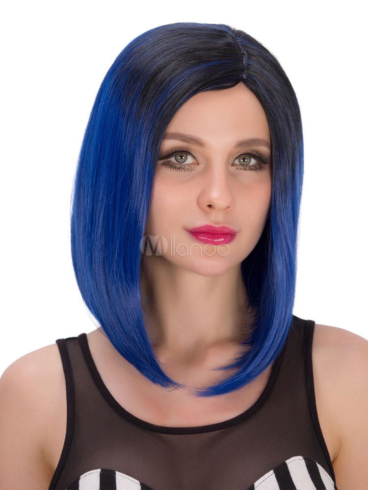 Damen Kurze Perücken Karneval Geraden Seitenscheitel Ombre Hair