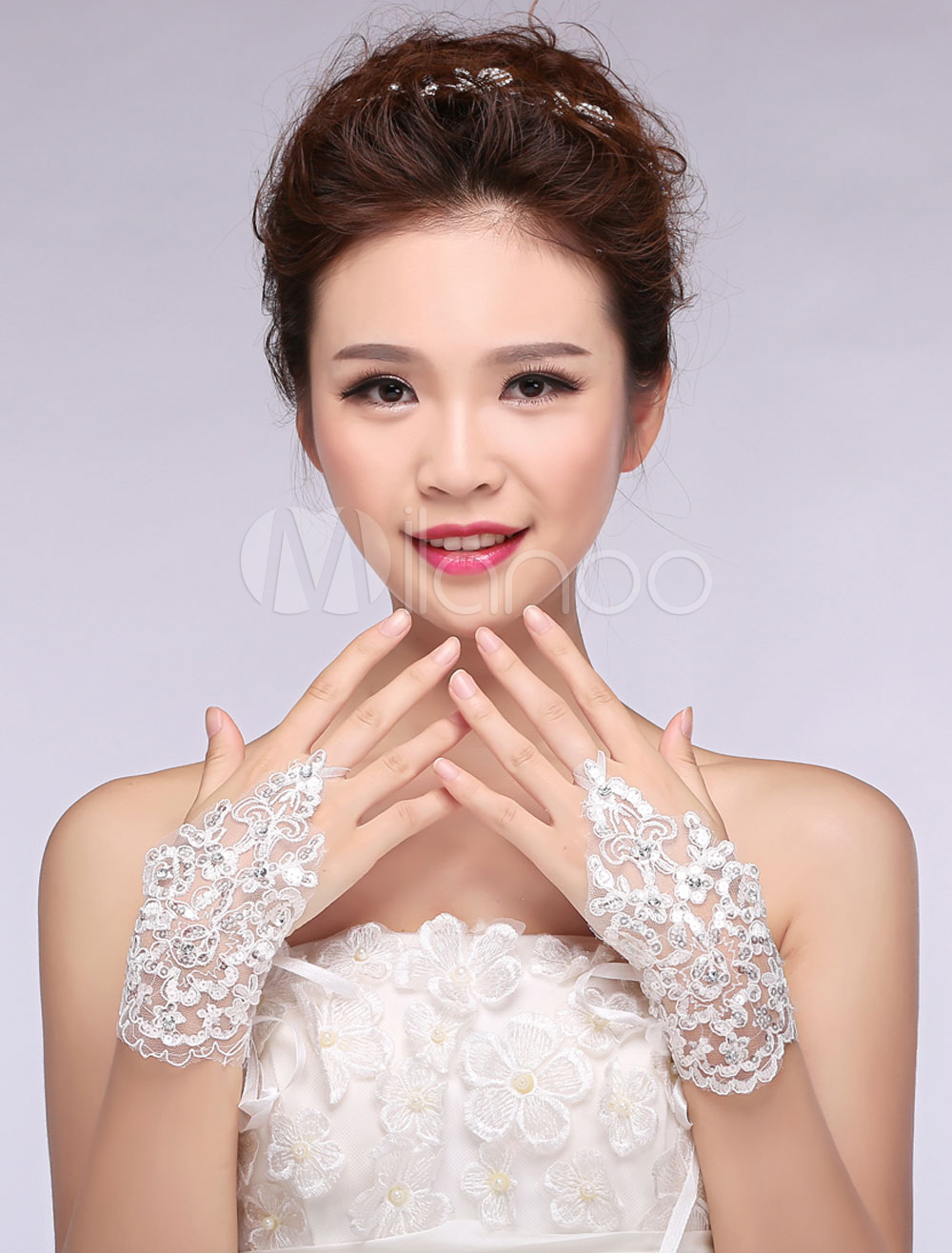 Ivory Wedding Gloves Lace Wrist Length Fingerless Bridal Gloves With Ribbons