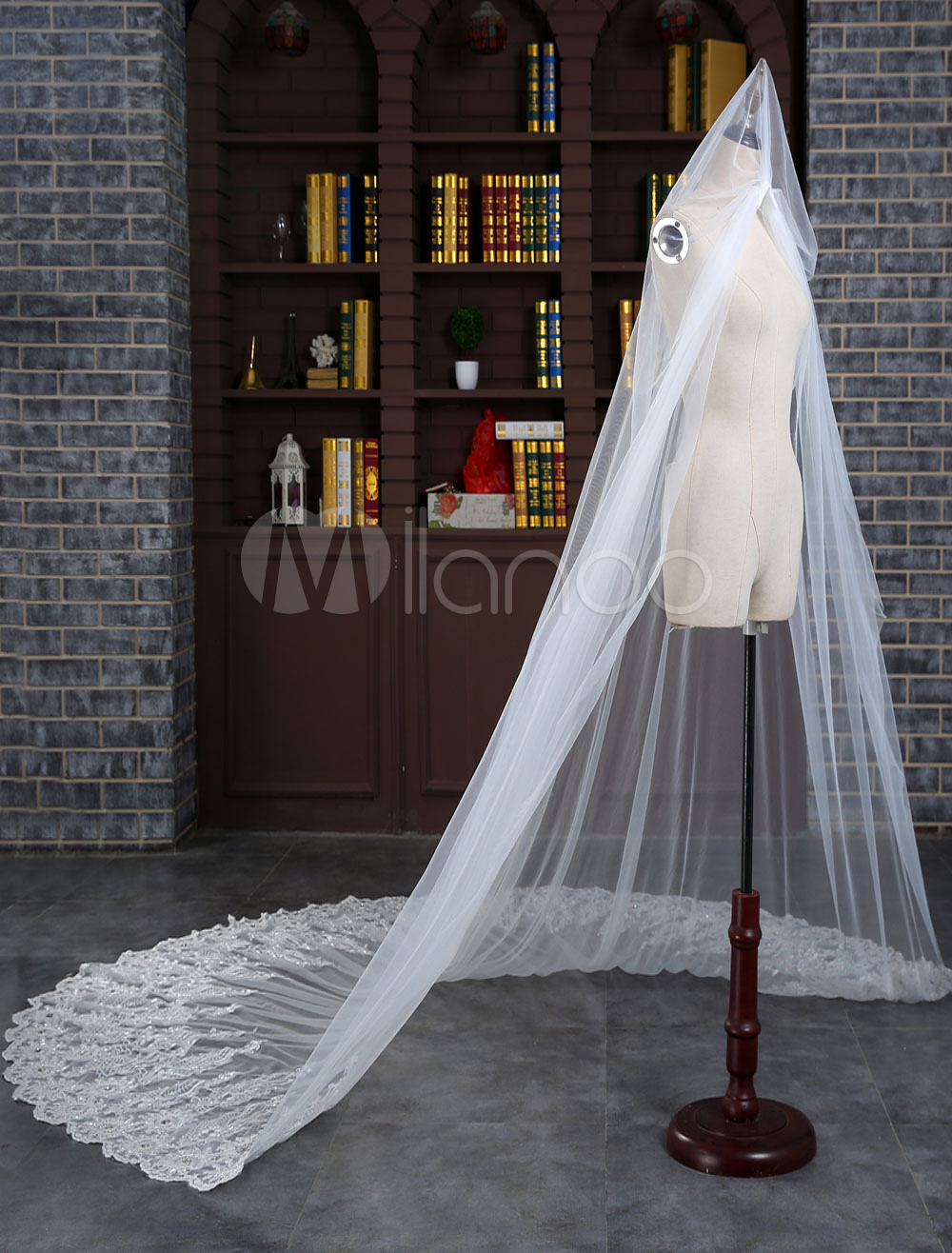 1-tier Wedding Veil Cathedral Lace Trim Tulle Waterfall Long Bridal Veil With Comb