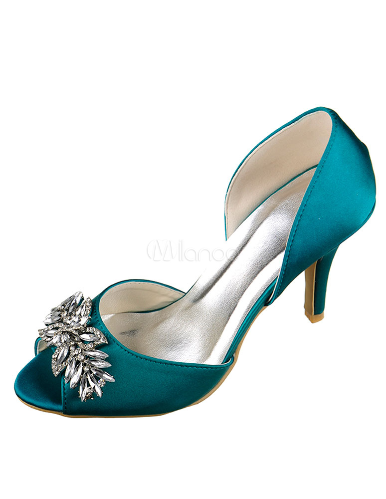 Buy Satin Wedding Shoes High Heel Ocean Blue Peep Slip-on Bridal Shoes With Rhinestone for $67.49 in Milanoo store
