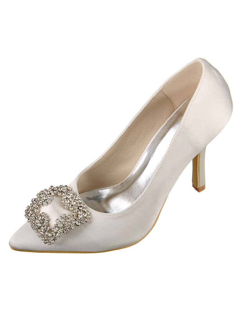 Buy Ivory Wedding Shoes High Heel Satin Pointed Rhinestone Slip-on Bridal Shoes for $57.59 in Milanoo store