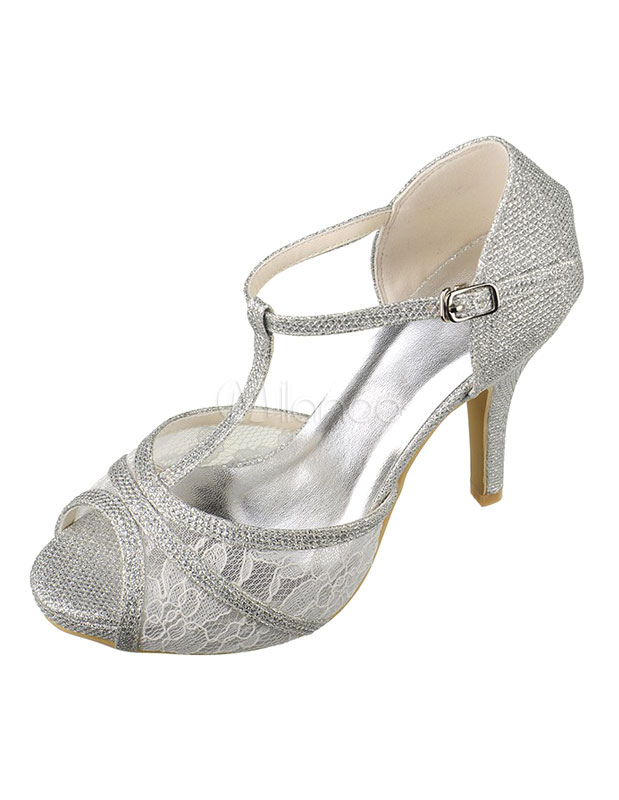 Buy Silver Wedding Shoes High Heel Lace Peep T-Type Ankle Strap Glitter Bridal Shoes for $59.84 in Milanoo store