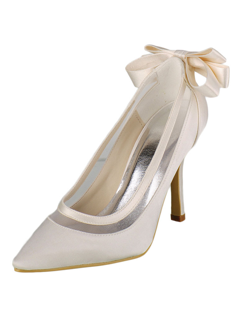 Buy Ivory Wedding Shoes High Heel Pumps Satin Pointed Slip-on Bridal Shoes With Bow for $56.99 in Milanoo store