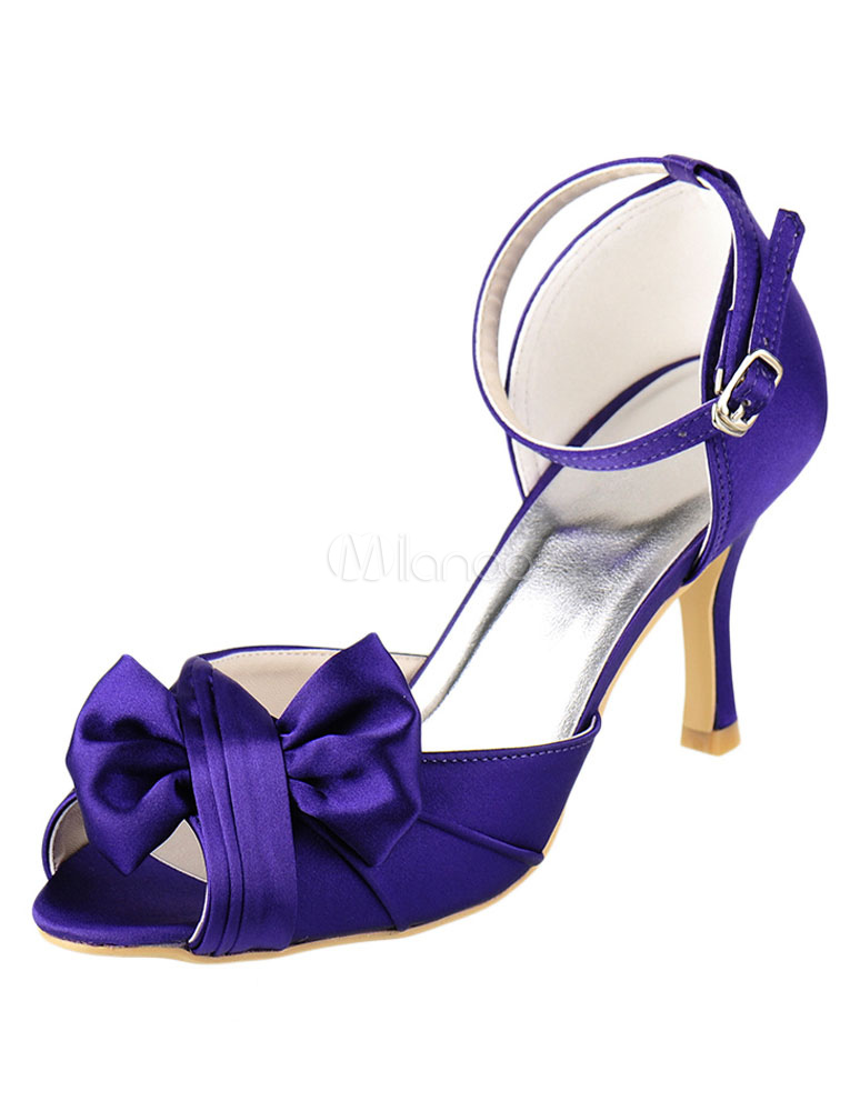 Peep Bridal Shoes High Heel Purple Satin Ankle Strap Bow Pleated Wedding Shoes