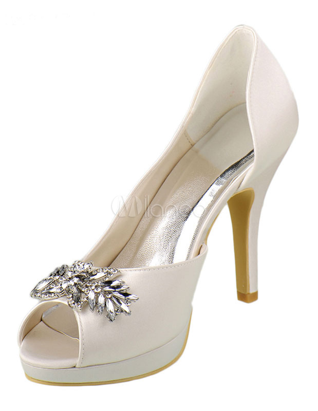 Buy Ivory Wedding Shoes High Heel Satin Peep Platform Crystal Bridal Shoes With Rhinestone for $71.99 in Milanoo store
