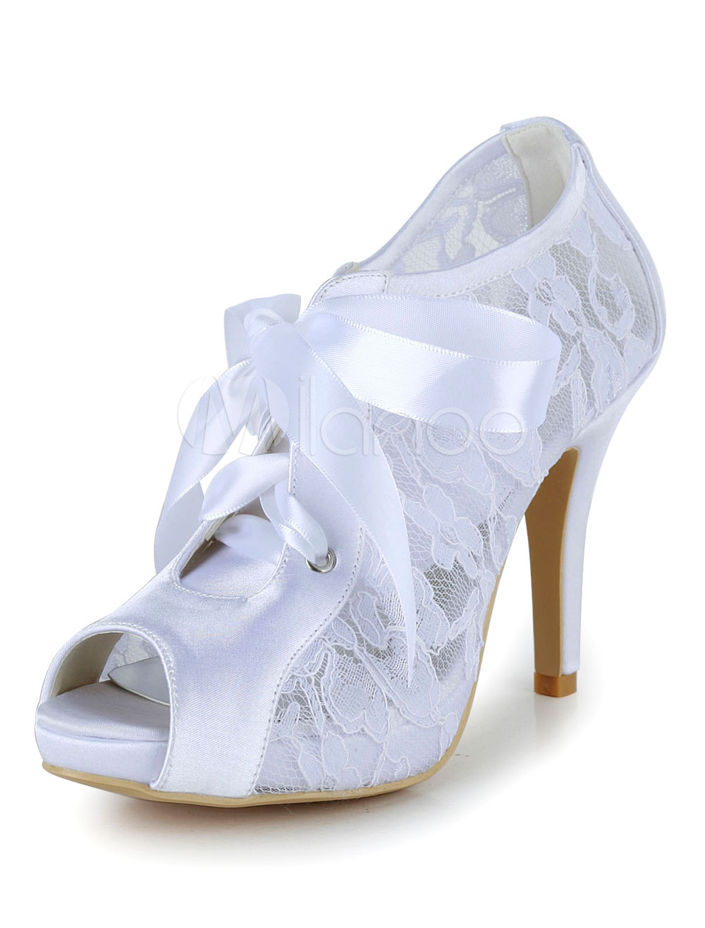 White Wedding Shoes High Heel Pumps Lace Peep Platform Bridal Shoes With Lace Up Ribbon