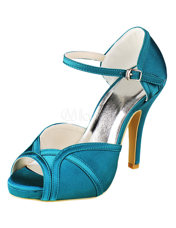Peep Wedding Shoes High Heel Satin Ocean Blue Ankle Strap Bridal Shoes