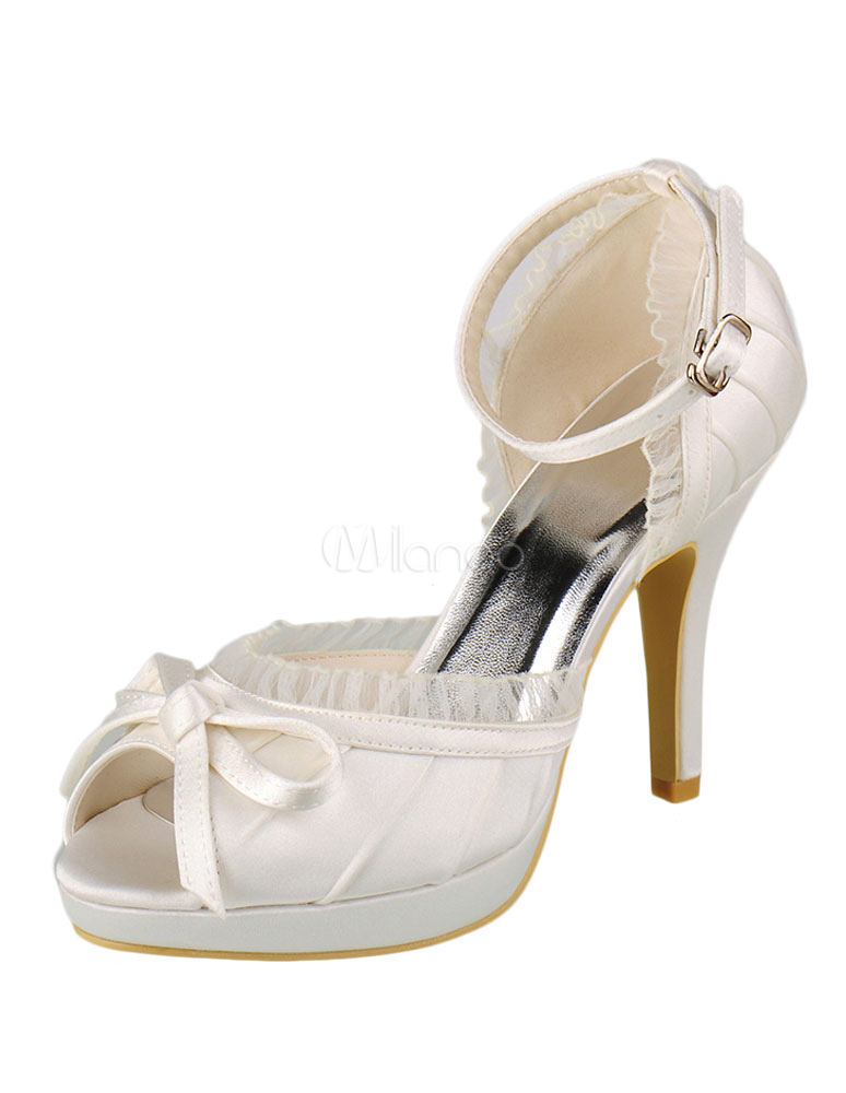 Buy Ivory Wedding Shoes High Heel Peep Satin Platform Bow Pleated Ankle Strap Bridal Shoes for $56.99 in Milanoo store