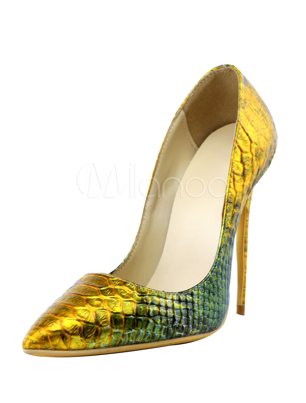 Buy Leather High Heels Gold Women's Snake Print Pointed Ombre Two Tone Slip-on Pumps for $62.99 in Milanoo store