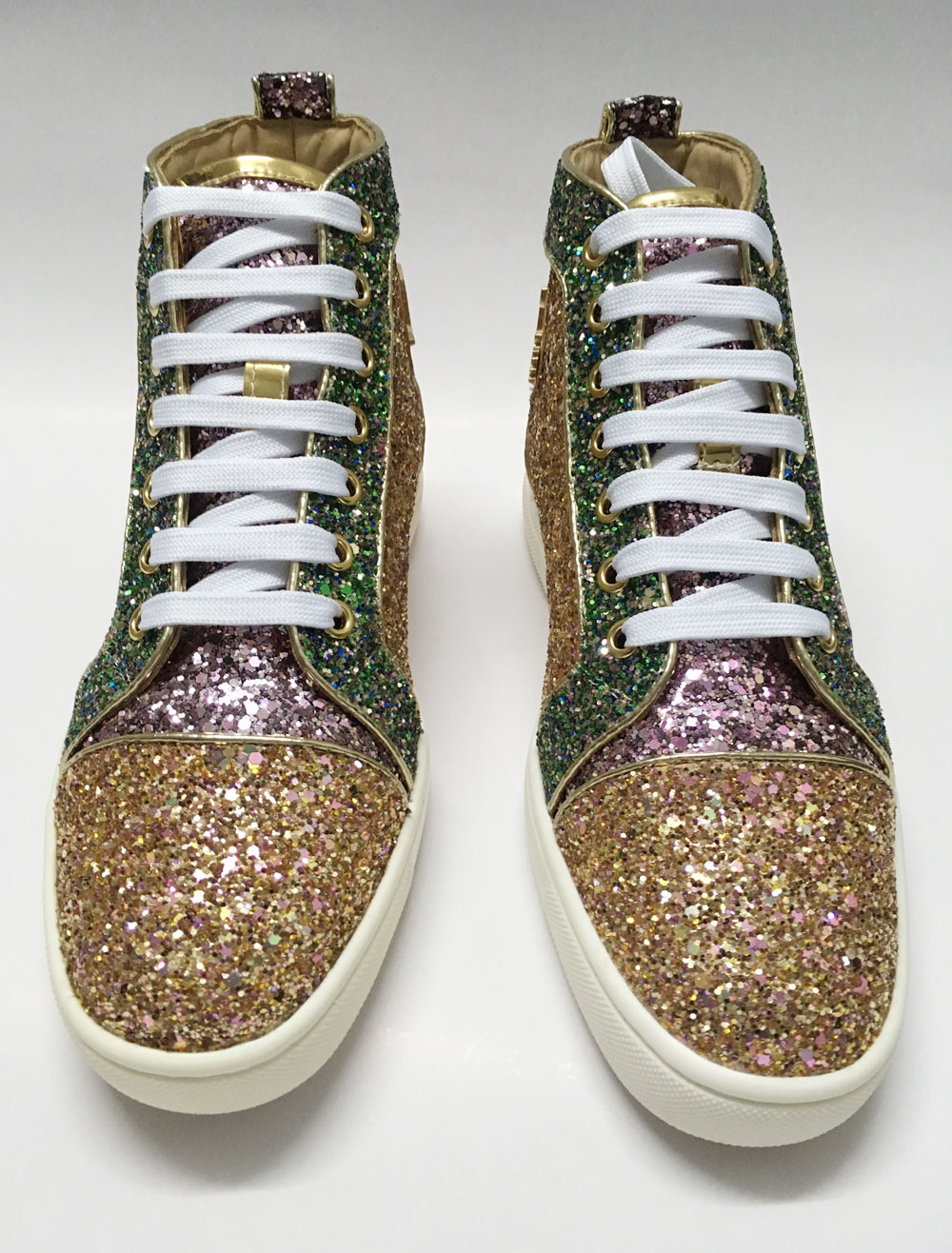 Gold Skate Shoes Men's Sequin Flat Lace Up Round Toe Glitter Casual Shoes