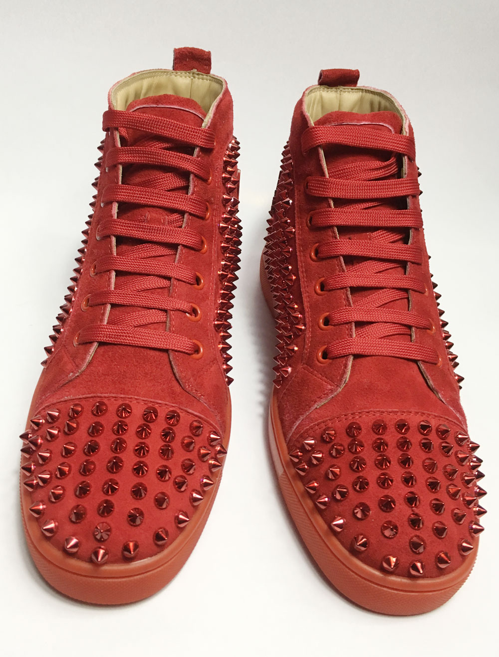 Red Skate Shoes 2018 Men Spike Shoes Suede Round Toe Lace Up High Top Sneakers
