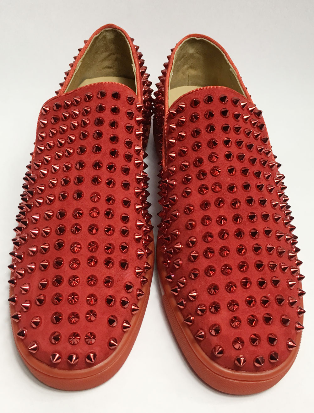 Buy Red Loafers Leather Spike Shoes Men Round Toe Flat Slip on Shoes for $76.49 in Milanoo store