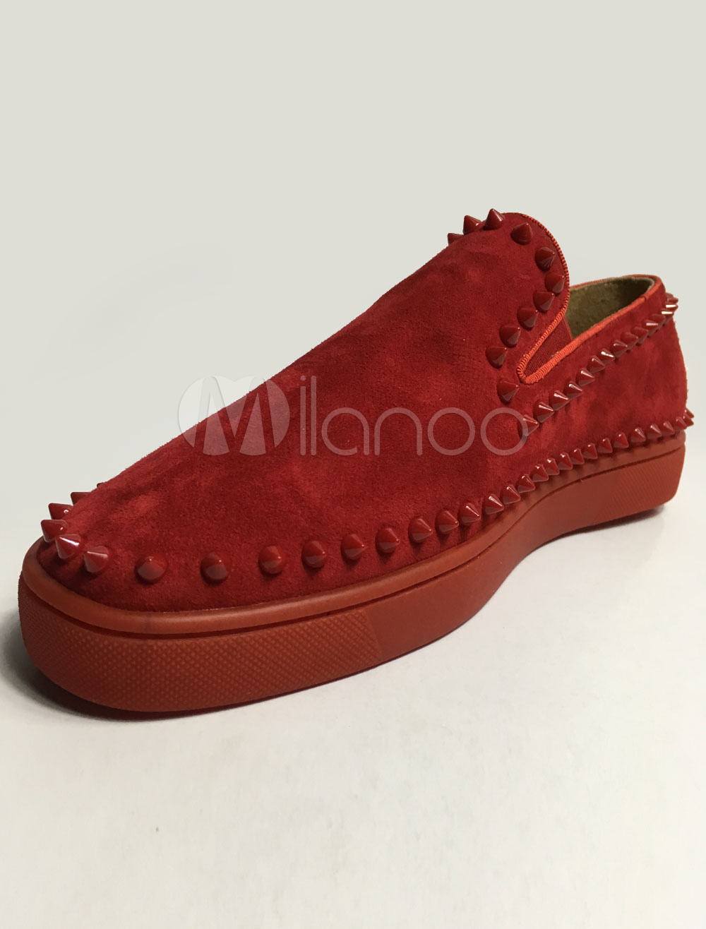 Buy Red Loafers Men Suede Round Toe Slip On Spike Shoes for $76.49 in Milanoo store