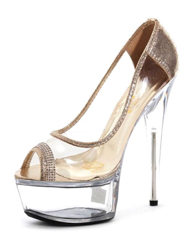 Buy Sexy High Heels Peep Toe Platform Transparent Slip-on Stiletto Heel Pumps (5.9 Inch) for $63.74 in Milanoo store