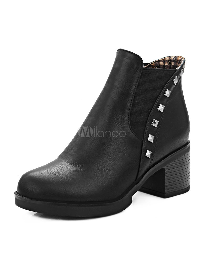ab3c37cfe0f Leather Chelsea Booties Black Chunky Heel Spike Round Toe Short Boots For  Women-No.