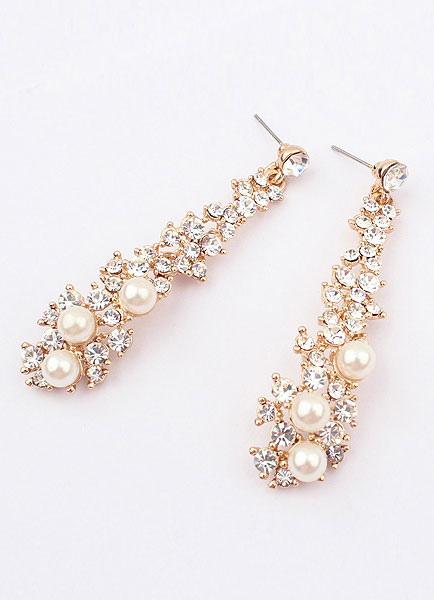 Buy Vintage Wedding Earrings Gold Drop Earrings Alloy Rhinestone Bridal Earrings for $7.99 in Milanoo store