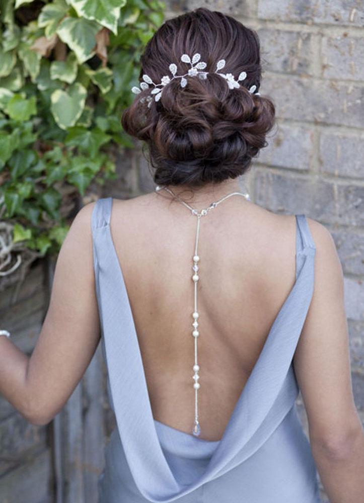 Wedding Backdrop Necklace Bridal Beach White Pearl Vintage Necklace