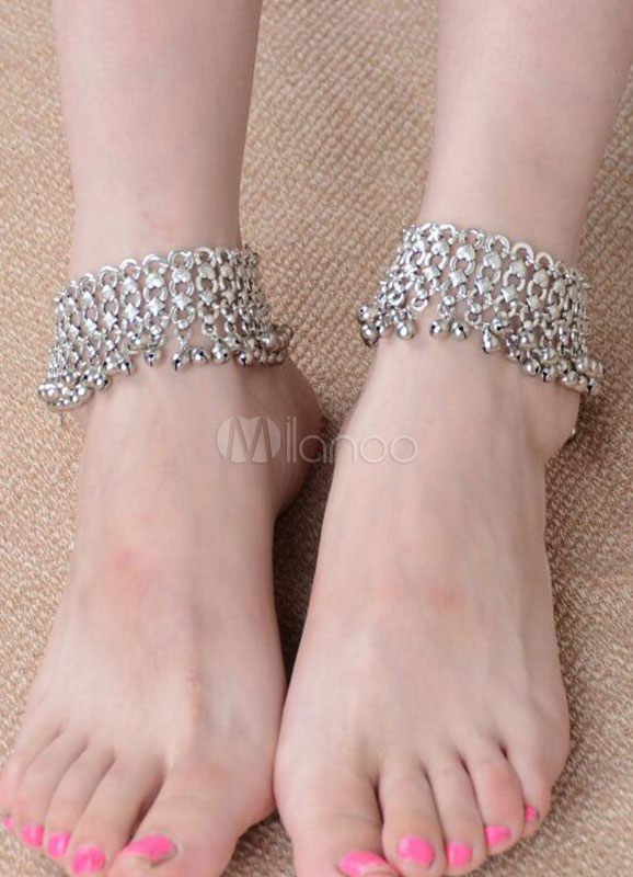 Buy Silver Beach Anklets Bell Beach Wedding Footwear for $20.89 in Milanoo store