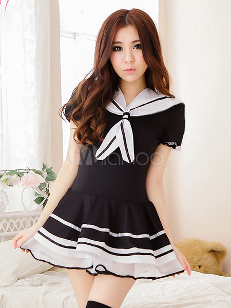 Halloween School Girl Costume Nerd Sexy Uniform Women's Black Dress With Thong Halloween