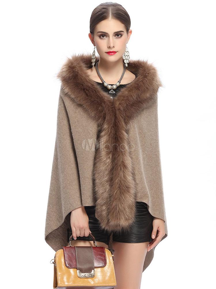 Women's Poncho Cape Faux Fur Hooded High Low Cape Coat