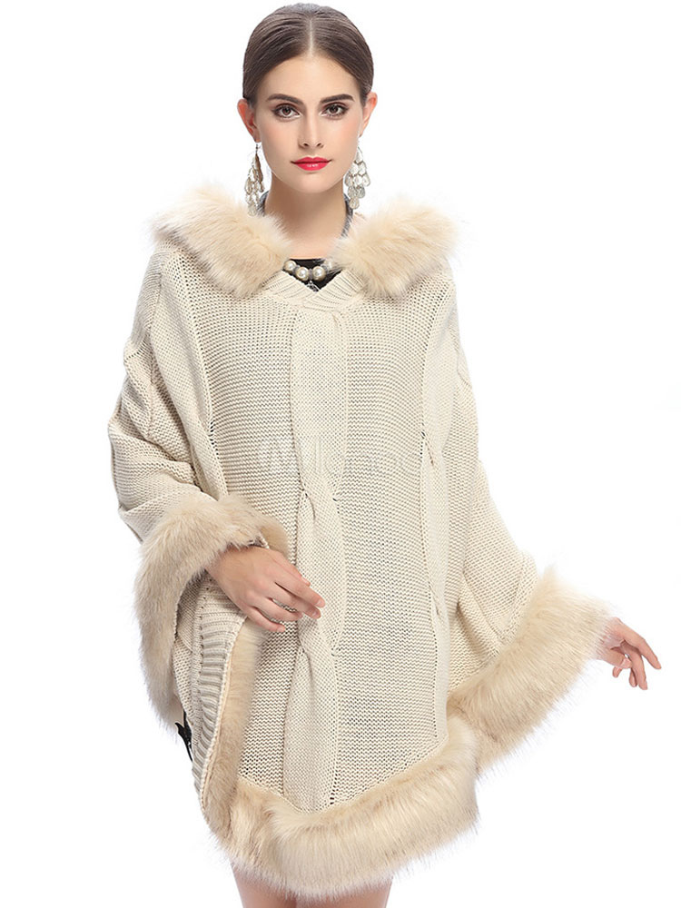 Womens Poncho Sweater Faux Fur Hooded Cable Knit Oversize Poncho
