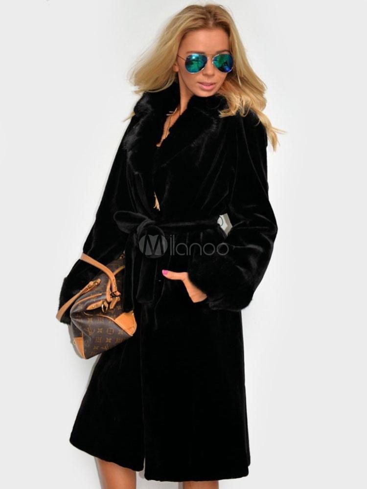 buona qualità varietà larghe vendita calda online Nero lungo con cintura Wrap cappotto pelliccia cappotto donna per l'inverno
