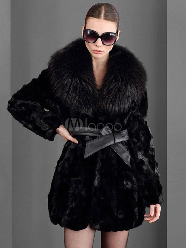 Faux Fur Coat Women Black Winter Coat Pillow Collar Luxurious Wrap Coat-No.1  ... 5a6fb9da18